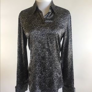 Ann Taylor silk black white long sleeves blouse